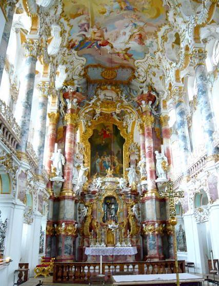 """「キリスト像が涙を流したという逸話がある""""ヴィース巡礼教会""""」(ドイツ)"""