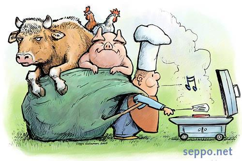 肉を食べると言えば、何の肉?